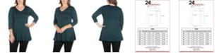 24seven Comfort Apparel Women's Plus Size Three Quarter Sleeves V-Neck Tunic Top
