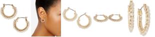 "Lucky Brand Gold-Tone Small Beaded Hoop Earrings, 0.75"""