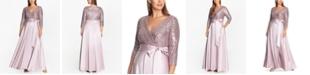 XSCAPE Plus Size Sequin-Top Ball Gown