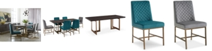 Furniture Cambridge Dining Furniture, 7-Pc. Set (Dining Table, Teal & Grey Side Chairs), Created for Macy's