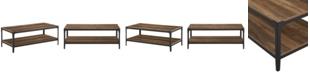 Walker Edison Angle Iron Rustic Wood Coffee Table