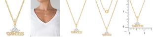 "Disney Children's Princess Tiara 15"" Pendant Necklace in 14k Gold"
