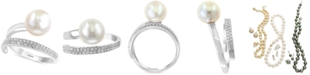 EFFY Collection Pearl Lace by EFFY® Cultured Freshwater Pearl (10mm) and Diamond (1/8 ct. t.w.) Ring in 14k White Gold