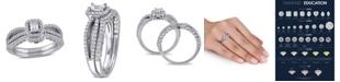 Macy's Certified Diamond (3/4 ct. t.w.) Emerald-Shape Halo Split Shank Bridal Set in 14k White Gold