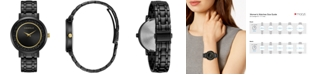 Caravelle Women's Crystal Black Stainless Steel Bracelet Watch 36mm