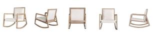 Burnham Home Designs Wooden Rocking Chair with Linen Seat
