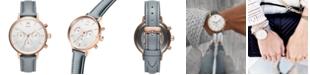 MVMT Women's Nova Dorado Gray Leather Strap Watch 38mm