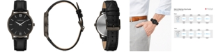Caravelle Men's Black Leather Strap Watch 39mm
