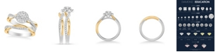 Macy's Diamond Halo Bridal Set (1 ct. t.w.) in 14k White & Yellow Gold or White & Rose Gold