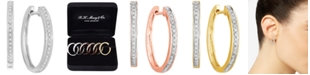 """Macy's 3-Pc. Set Diamond Small Hoop Earrings (1/3 ct. t.w.) in Sterling Silver, Gold-Plate & Rose Gold-Plate, 0.75"""""""