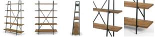 """Glamour Home Ailis 71.5"""" Leaning Etagere Pine Wood Metal Frame Bookcase Five-Shelf Media Tower"""