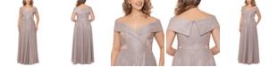 XSCAPE Plus Size Off-the-Shoulder Glitter Gown