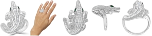 EFFY Collection EFFY® Diamond (1-3/8 ct. t.w.) & Emerald Accent Alligator Ring in 14k White Gold