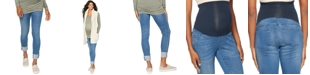 BLANK NYC Maternity Ripped Cuffed Skinny Jeans, Medium Blue Wash