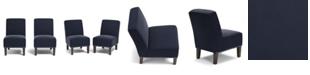 Handy Living Bryce Armless Chair in Navy Blue Velvet (Set of 2)