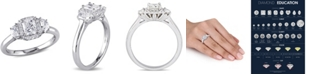 Macy's Certified Diamond (1 ct. t.w.) Radiant-Shape 3-Stone Halo Engagement Ring in 14k White Gold