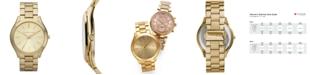 Michael Kors Unisex Slim Runway Gold-Tone Stainless Steel Bracelet Watch 42mm