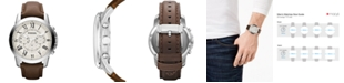 Fossil Men's Chronograph Grant Brown Leather Strap Watch 44mm