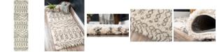 """Bridgeport Home Fazil Shag Faz2 Pure Ivory 2' 7"""" x 10' Runner Area Rug"""