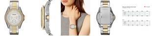 Fossil Women's Riley Two Tone Stainless Steel Bracelet Watch 38mm