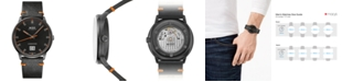 Mido Men's Swiss Automatic Commander Big Date Black Leather Strap Watch 42mm