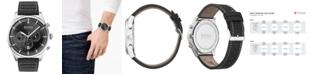 BOSS Men's Chronograph Pioneer Black Leather Strap Watch 44mm