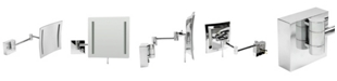 ALFI brand Chrome Wall Mount Square 5x Magnifying Cosmetic Mirror with Light