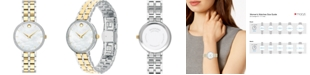Movado Women's Swiss Kora Diamond (1/4 ct. t.w.) Two-Tone PVD Stainless Steel Bracelet Watch 28mm