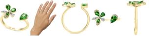 EFFY Collection Tsavorite (3/4 ct. t.w.) & Diamond (1/6 ct. t.w.) Flower Cuff Ring in 14k Gold