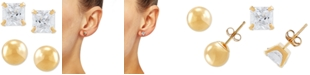 Macy's 2-Pc. Set Cubic Zirconia Princess and Polished Round Stud Earrings in 10k Gold