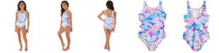 Glitter Beach Big Girls 1-Pc. Printed Cut Out Swim Suit