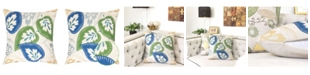 Homey Cozy Nola Applique Linen Square Decorative Throw Pillow