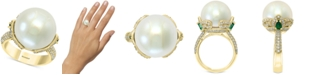 EFFY Collection EFFY® Cultured Freshwater Pearl (15mm) Emerald (1/2 ct. t.w.) & Diamond (5/8 ct. t.w.) Statement Ring in 14k Gold