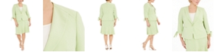 Le Suit Plus Size One-Button Tie-Sleeve Jacket and Skirt Suit