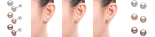 Macy's 3-Pc. Set White, Peach & Lavender Cultured Freshwater Pearl (8mm) Stud Earrings