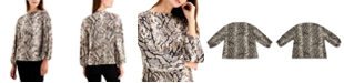 Alfani Plus Size Snakeskin-Print Top, Created for Macy's