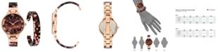 Anne Klein Swarovski Crystal Accented Tortoise Watch and Bangle Set 36mm