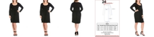 24seven Comfort Apparel Women's Plus Size Casual Long Sleeves Pleated Dress