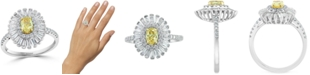 EFFY Collection EFFY® Yellow & White Diamond Baguette Halo Ring (1-1/4 ct. t.w.) in 18k Gold & White Gold