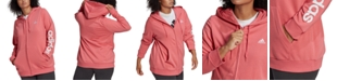 adidas Essentials Plus Size French Terry Logo-Sleeve Hoodie