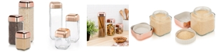 Honey Can Do 3-Pc. Glass & Copper Canister Set