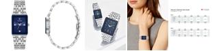Bulova Women's Futuro Diamond-Accent Stainless Steel Bracelet Watch 21x32mm, Created for Macy's