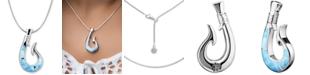 "Marahlago Larimar Fish Hook 21"" Necklace in Sterling Silver"