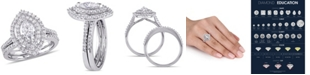 Macy's Certified Diamond (1 ct. t.w.) Marquise-Shape Double Halo Bridal Set in 14k White Gold