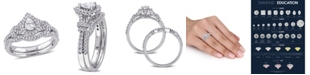 Macy's Certified Diamond (7/8 ct. t.w.) Pear-Shape Halo Split Shank Bridal Set in 14k White Gold