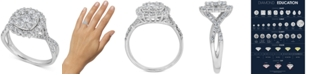 Macy's Diamond Halo Cluster Engagement Ring (1-1/4 ct t.w) in 14k White Gold