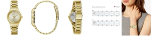 Caravelle Women's Diamond-Accent Gold-Tone Stainless Steel Bracelet Watch 30mm