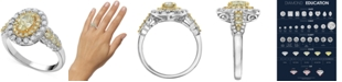Macy's Diamond Fancy Color Halo Engagement Ring (1-1/2 ct. t.w.) in 14k Gold & White Gold