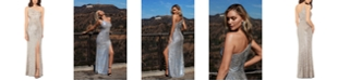 XSCAPE Petite One-Shoulder Sequined Gown