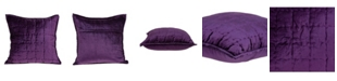Parkland Collection Agio Transitional Purple Solid Quilted Pillow Cover with Polyester Insert